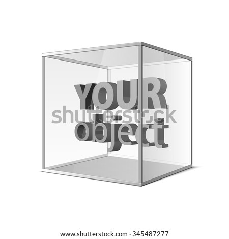 Abstract transparent box on grey background. EPS 10. art your object - stock vector