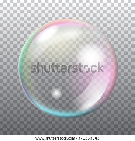 Abstract transparent soap bubble with flares on light grey background. Vector eps10 illustration - stock vector