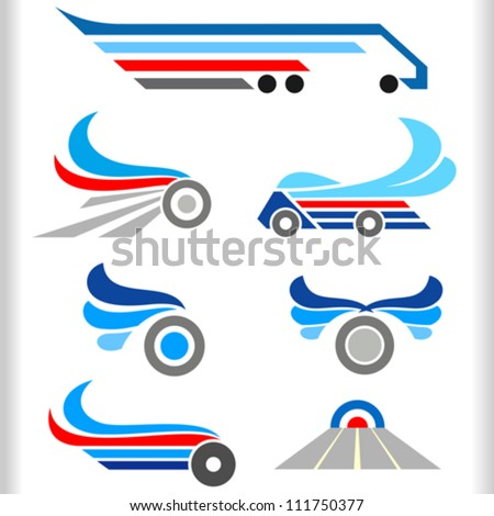 Abstract Transport Symbols and Icons - stock vector