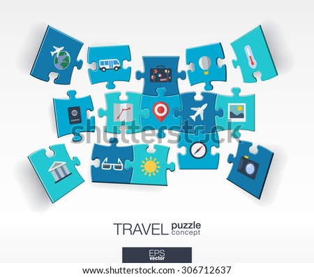 Abstract travel background with connected color puzzles, integrated flat icons. 3d infographic concept with Airplan, luggage, summer, tourism pieces in perspective. Vector interactive illustration. - stock vector