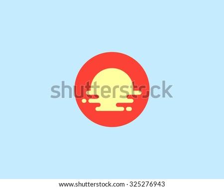 Abstract travel vector logo design template. Creative tourism icon. Modern sun beach vocation logotype. Breakfast food cafe, restaurant idea logo - sun, plate, egg, omelet. - stock vector