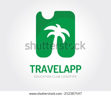 Abstract travel vector logo template for branding and design - stock vector