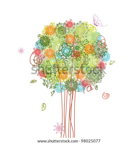 abstract tree design with arabesques - stock vector