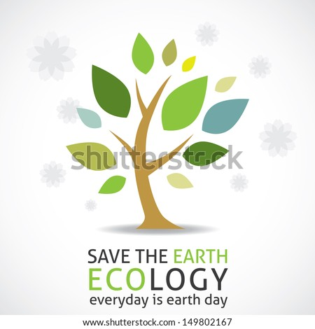abstract tree (earth day icon) - stock vector