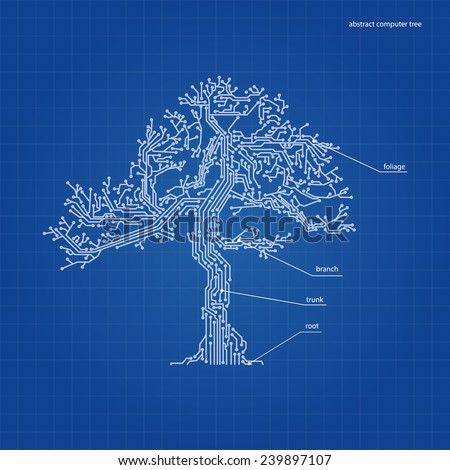 abstract tree from a computer circuit on blue paper - stock vector