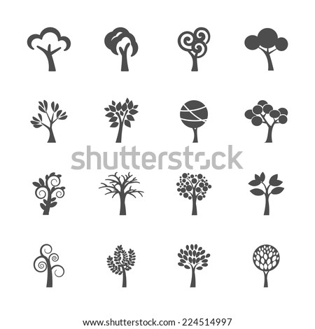 abstract tree icon set, vector eps10. - stock vector