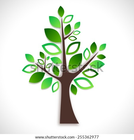 Abstract tree on white background - spring or summer natural motive. Vector illustration. - stock vector