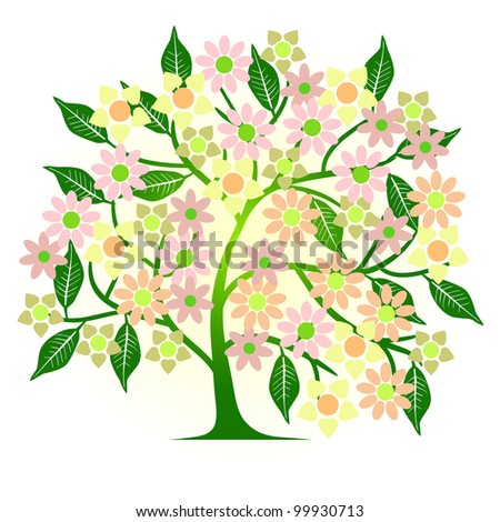 abstract tree with flowers - vector - stock vector