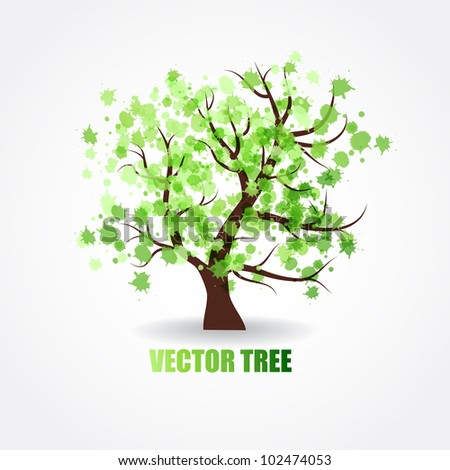 Abstract  tree with green fresh leaves - stock vector