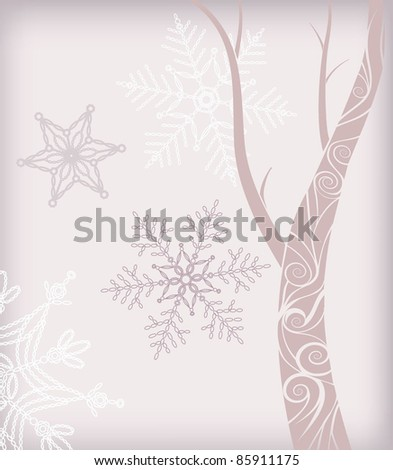 abstract tree with snowflake - stock vector
