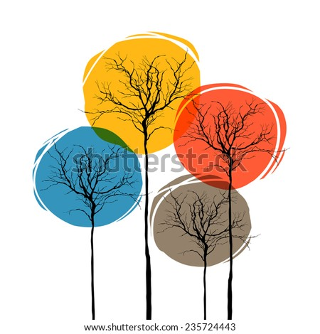Abstract Trees On White. Seasons Concept - stock vector