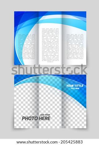 Abstract tri-fold wave blue brochure for booklet folder design - stock vector