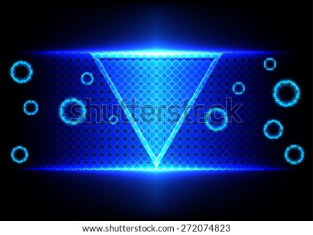 abstract triangle blue light technology background - stock vector