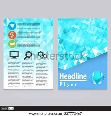 Abstract Triangle Flyer Design Vector Template In A4 Size. Creative Geometric Concept. - stock vector