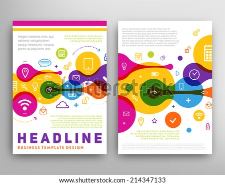 Abstract Triangle Geometric Vector Brochure Template. Flyer Layout. Flat Style. Infographic Elements. Set of Line Icons. - stock vector