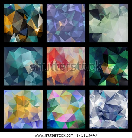 Abstract Triangle Geometrical Multicolored Background, SET of 9 patterns - stock vector