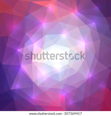 Abstract triangle mosaic soft purple and pink background with shiny effect - stock vector