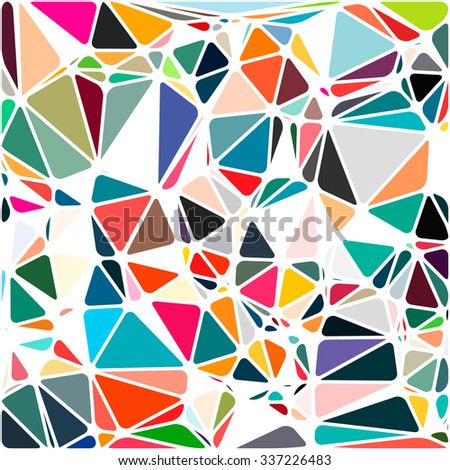 Abstract Triangle Polygonal Geometrical Background, Vector Illustration EPS10. Geometric design frame for business presentations, flyers banners brochures, leaflets, web. Bright pink orange green blue - stock vector