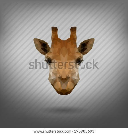 abstract triangle polygonal  giraffe - stock vector