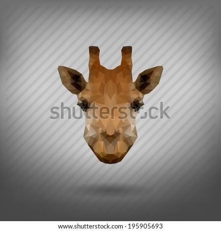 abstract triangle polygonal  giraffe - stock vector