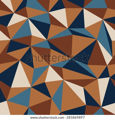 Abstract Triangle Seamless Pattern in Retro Colors - stock vector