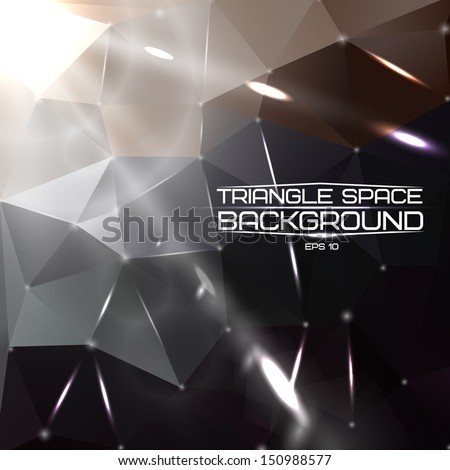 Abstract triangle space background with bright lights and comets. Vector - stock vector
