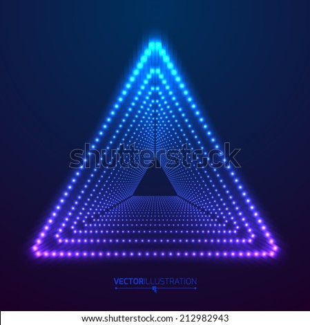 Abstract triangle tunnel background. Vector illustration. - stock vector