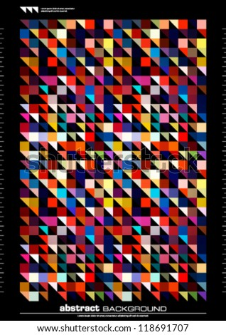 Abstract triangles background vector. Retro pixel mosaic design. Cover, card or poster template. - stock vector