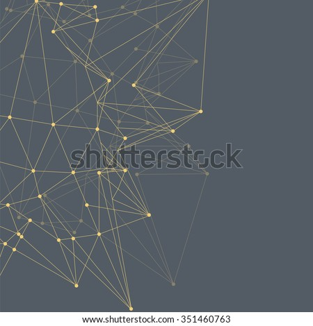 Abstract triangles space low poly. Dark grey background with connecting dots and lines. Light connection structure. Polygonal yellow vector background. Futuristic HUD. - stock vector