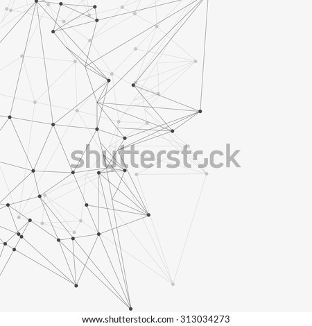 Abstract triangles space low poly. White background with connecting dots and lines. Light connection structure. Polygonal vector background. Futuristic HUD. - stock vector