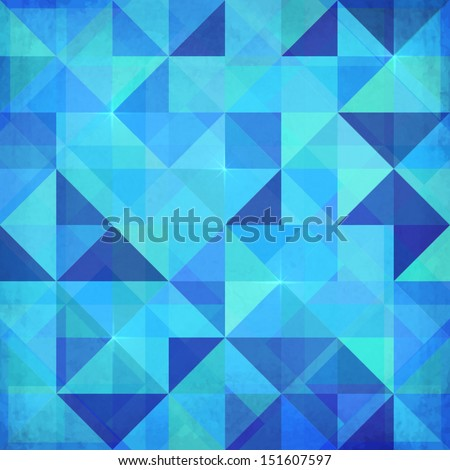 Abstract triangles vector blue background - stock vector
