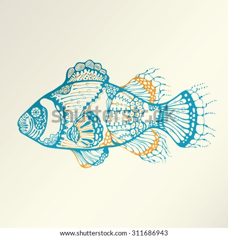 Abstract Tropical Fish - stock vector