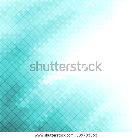 Abstract turquoise green geometric shapes background with white copyspace area. - stock vector