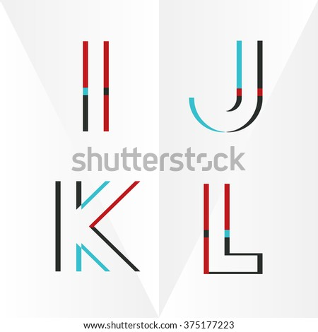 Abstract Typographic Alphabet in a Vector Set | Contains Vibrant Colors and Minimal Design - stock vector