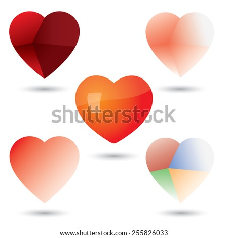 abstract unique heart vector icons collection set. This graphic can represent love, paper craft, fragile heart, delicate human emotions, feelings and sentiments - stock vector