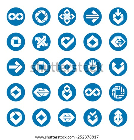 Abstract unusual vector symbols set, creative stylish icon templates collection. - stock vector