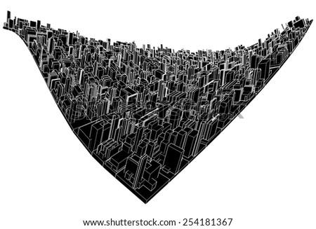 Abstract Urban City Wave Vector 306 - stock vector