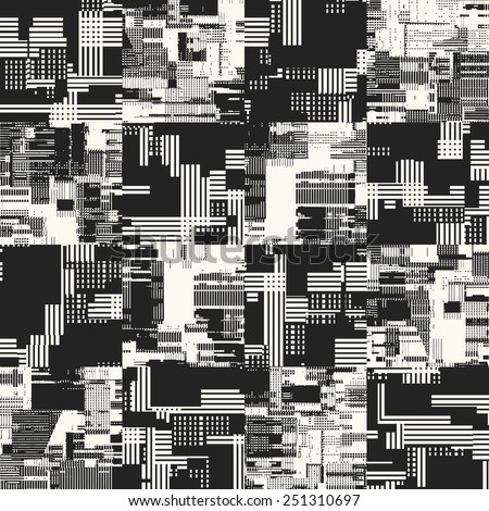 Abstract urban motif  geometric textured background with noisy fragments in black and white. Seamless pattern. Vector. - stock vector