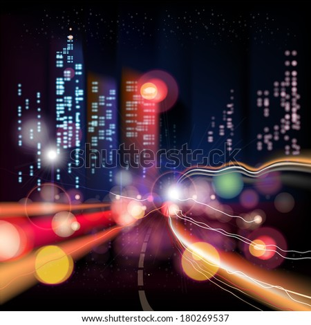 Abstract urban night landscape with parts of buildings,lights cars,city,metropolis. Vector background. Effect blur, bokeh, light point, color flows. The world of light and color. handiwork. - stock vector