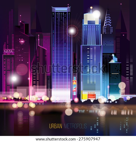 Abstract urban night landscape with parts of buildings ,lights cars,city,metropolis. Vector background. Effect blur, bokeh, light point, color flows. The world of light and color. handiwork. - stock vector