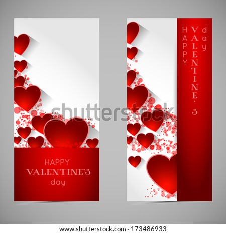 abstract valentine banners with heart and long shadow effect - stock vector