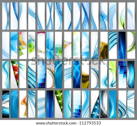 abstract Various colorful vertical header set collection vector design - stock vector