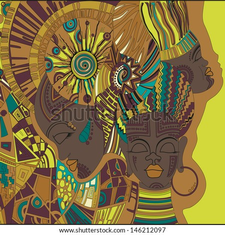 abstract vector African girls - stock vector