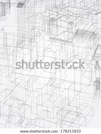 Abstract vector architectural background. - stock vector