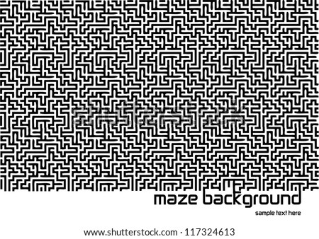 abstract vector backdrop design with maze texture and place for your text isolated on white background - stock vector
