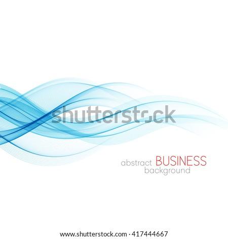 Abstract vector background, blue transparent waved lines for brochure, website, flyer design.  Blue smoke wave. Blue wavy background, - stock vector