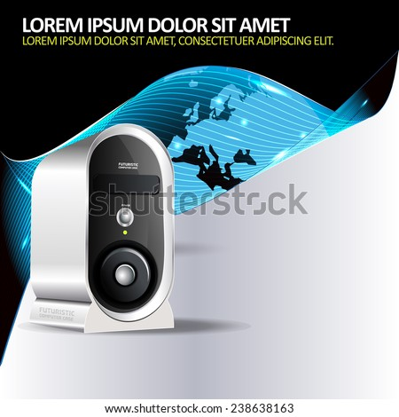 Abstract vector background for brochure or poster with a computer and continents - stock vector