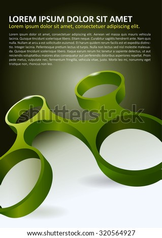 Abstract vector background for brochure or poster with four linked circle in 3D perspective  - stock vector