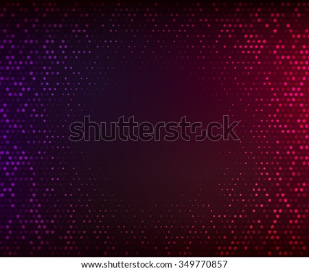 Abstract vector background. Glowing mosaic of stars on the dark purple-red background. Halftone effect - stock vector