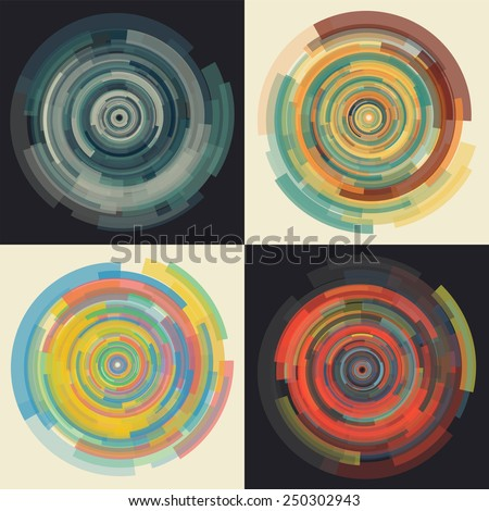 Abstract vector background in concentric uniformly decreasing circular elements. Set of four colored futuristic wallpapers. Spiral techno pattern can be used for musical objects. - stock vector